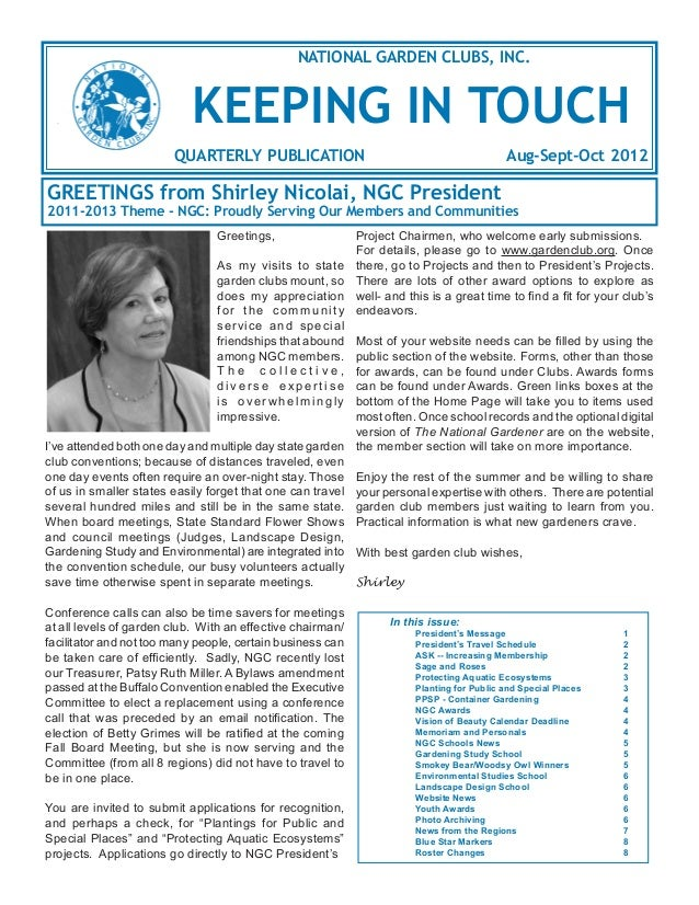 NATIONAL GARDEN CLUBS, INC.                           KEEPING IN TOUCH                        QUARTERLY PUBLICATION       ...