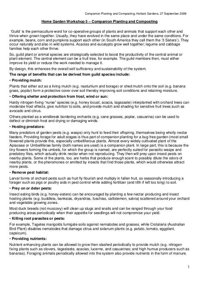Companion Planting and Composting, Hollard Gardens, 27 September 2009                    Home Garden Workshop 5 – Companio...