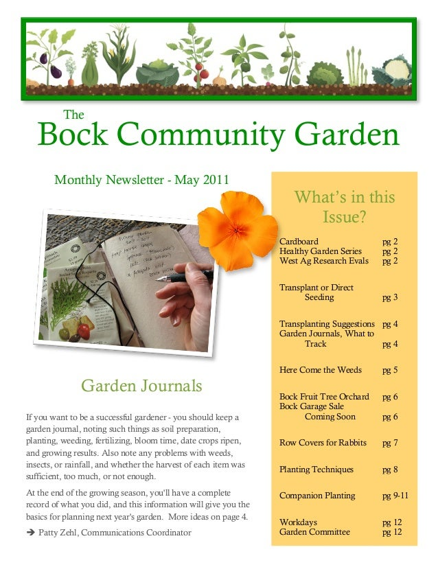 The   Bock Community Garden        Monthly Newsletter - May 2011                                                          ...