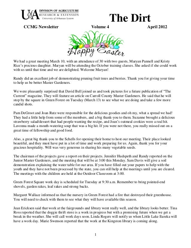 The Dirt       CCMG Newsletter                               Volume 4                              April 2012We had a grea...