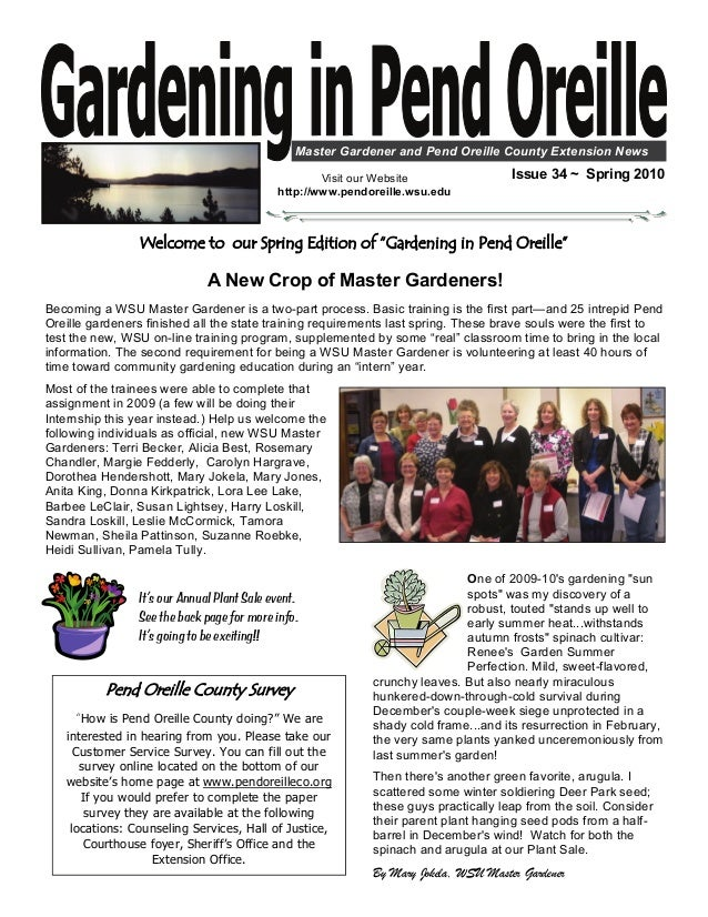 Master Gardener and Pend Oreille County Extension News                                                    Visit our Websit...
