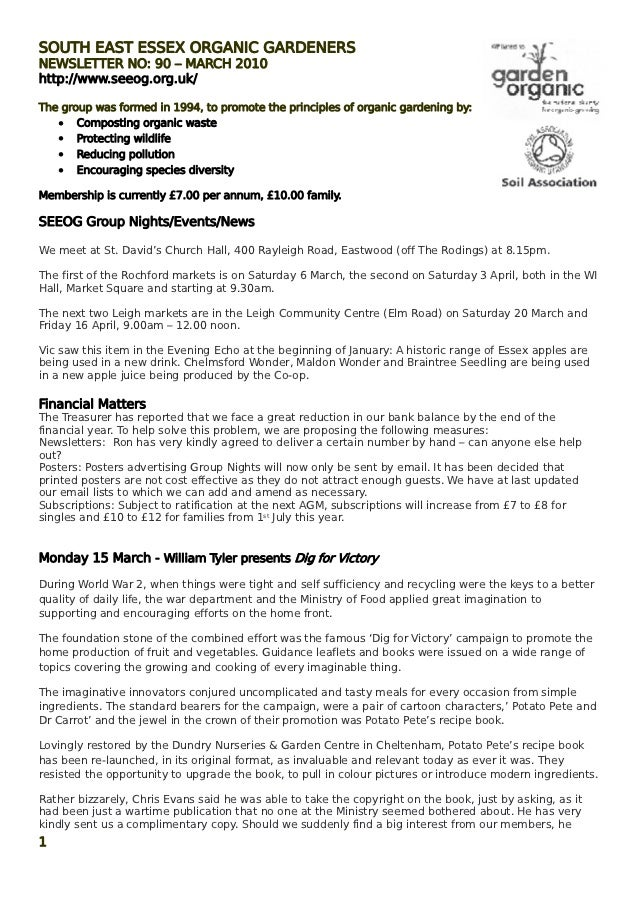 SOUTH EAST ESSEX ORGANIC GARDENERSNEWSLETTER NO: 90 – MARCH 2010http://www.seeog.org.uk/The group was formed in 1994, to p...