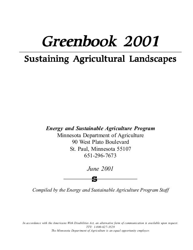 "Greenbook 2001                         Landscapes Sustaining Agricultural L andscapes                 !""#$%& ("") *+,-(.""(/..."