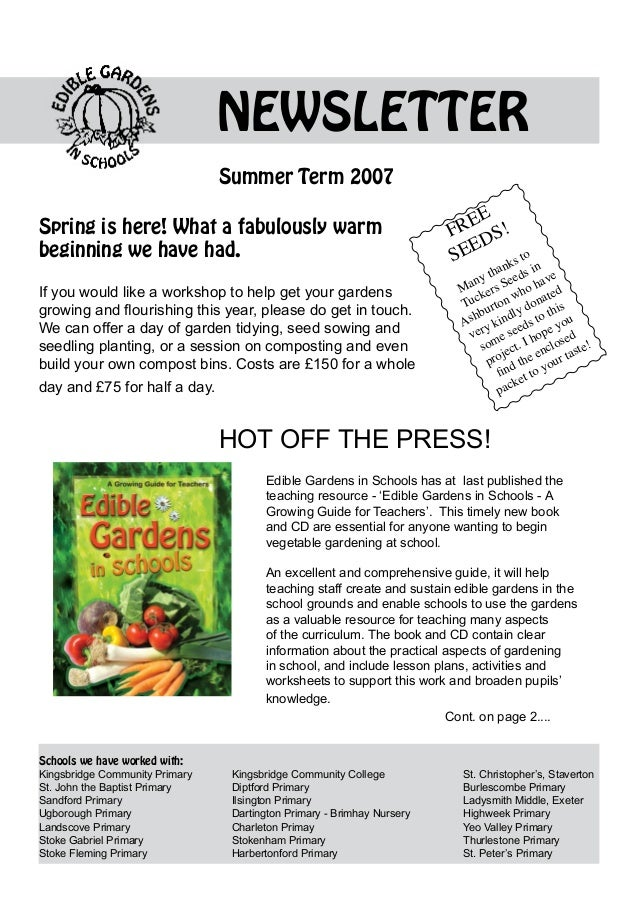 NEWSLETTER                                  Summer Term 2007                                                              ...