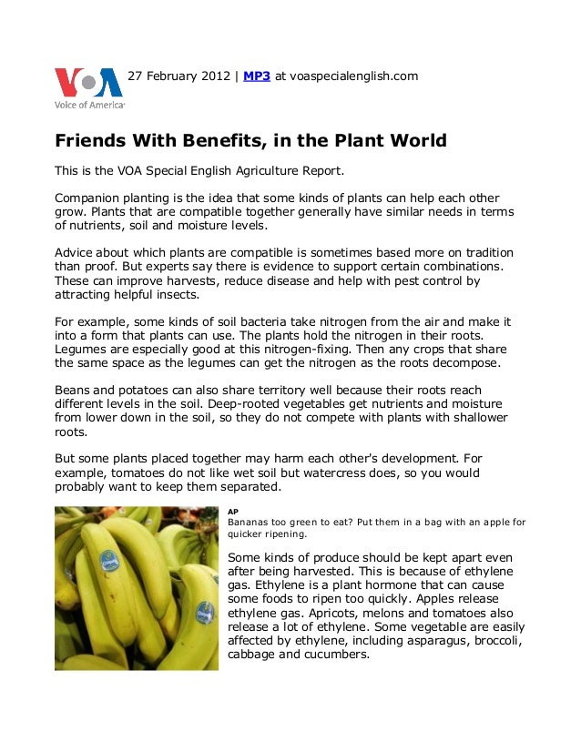27 February 2012 | MP3 at voaspecialenglish.comFriends With Benefits, in the Plant WorldThis is the VOA Special English Ag...