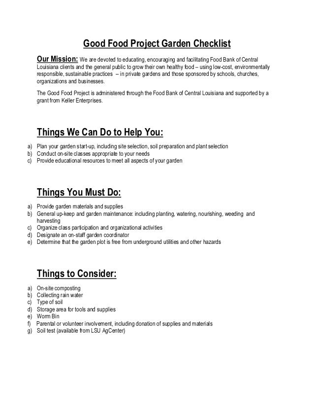 Good Food Project Garden Checklist     Our Mission: We are devoted to educating, encouraging and facilitating Food Bank of...