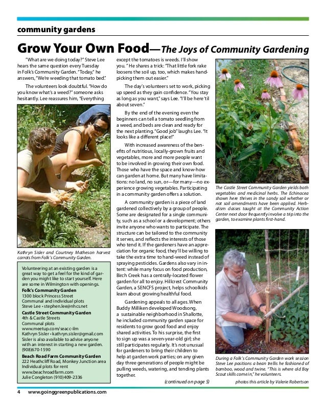 """community gardensGrow Your Own Food—The Joys of Community Gardening    """"What are we doing today?"""" Steve Lee           exce..."""