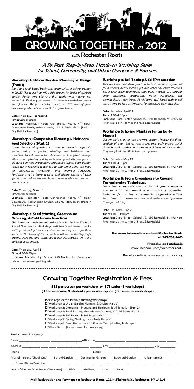 GROWING TOGETHER in 2012                                               with    Rochester Roots                      A Six ...