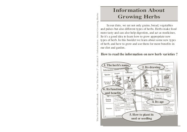 "Information AboutThe Farmers Handbook - ""Near The House 2"", Booklet 5 - Information About Growing Herbs                   ..."