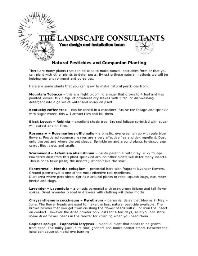 THE LANDSCAPE CONSULTANTS                  Your design and installation team              Natural Pesticides and Companion...