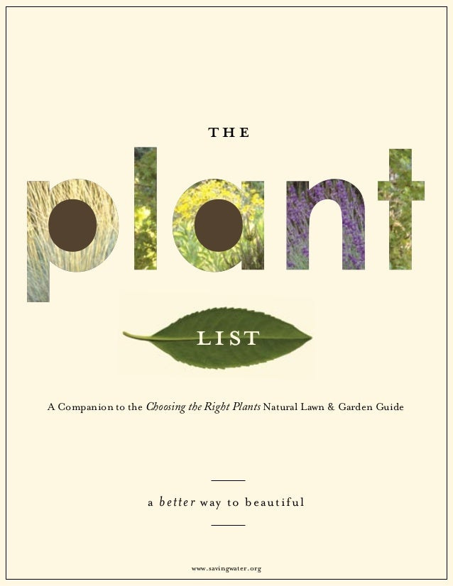 t he                             listA Companion to the Choosing the Right Plants Natural Lawn & Garden Guide             ...