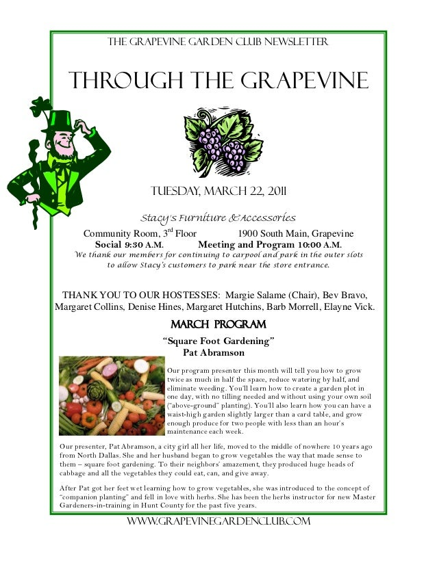 The grapevine garden club newsletter   THROUGH THE GRAPEVINE                             Tuesday, march 22, 2011          ...