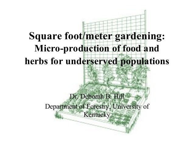 Square foot/meter gardening:  Micro-production of food andherbs for underserved populations           Dr. Deborah B. Hill ...