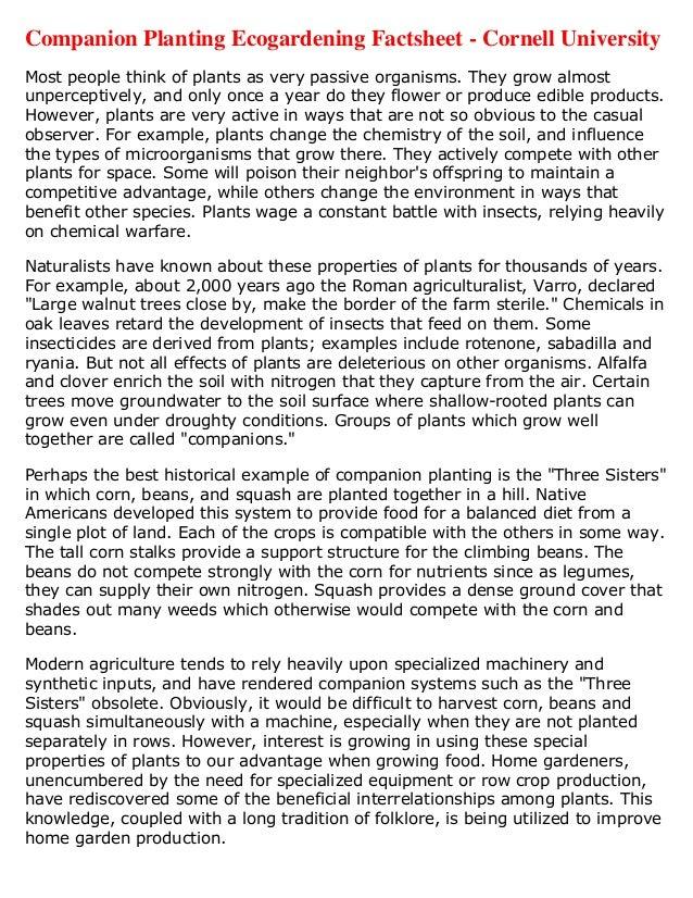 Companion Planting Ecogardening Factsheet - Cornell UniversityMost people think of plants as very passive organisms. They ...