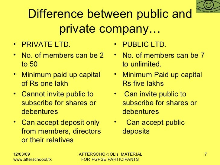 difference between public limited company and