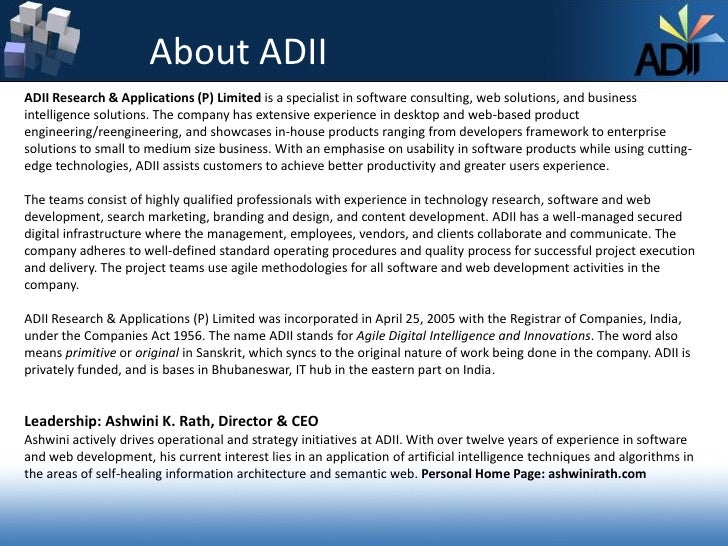 ADII Research & Applications (P) Limited Company brochure Slide 2