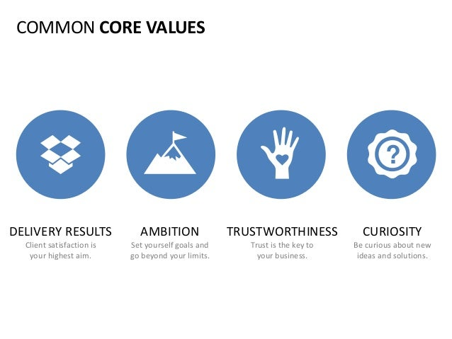 COMMON CORE VALUES DELIVERY RESULTS Client satisfaction is your highest aim. TRUSTWORTHINESS Trust is the key to your busi...