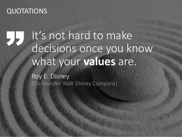 It's not hard to make decisions once you know what your values are. Roy E. Disney (Co-founder Walt Disney Company) QUOTATI...
