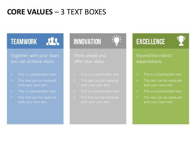 CORE VALUES – 3 TEXT BOXES Exceed the clients' expectations. • This is a placeholder text. • This text can be replaced wit...