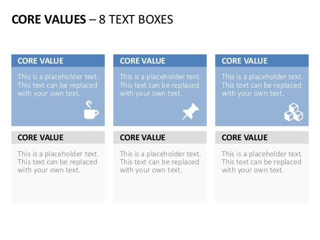 CORE VALUES – 8 TEXT BOXES This is a placeholder text. This text can be replaced with your own text. CORE VALUE This is a ...