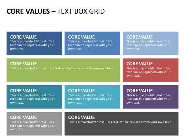 CORE VALUES – TEXT BOX GRID CORE VALUE This is a placeholder text. This text can be replaced with your own text. CORE VALU...