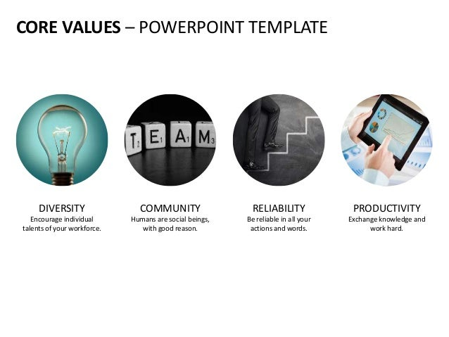 CORE VALUES – POWERPOINT TEMPLATE DIVERSITY Encourage individual talents of your workforce. PRODUCTIVITY Exchange knowledg...