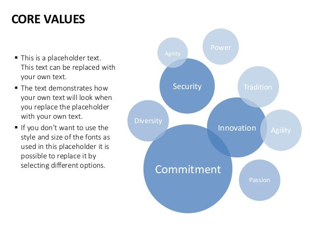 CORE VALUES Security Innovation Commitment Agility Power Tradition Agility Diversity Passion  This is a placeholder text....