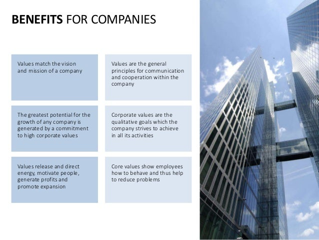 BENEFITS FOR COMPANIES Values match the vision and mission of a company Values are the general principles for communicatio...