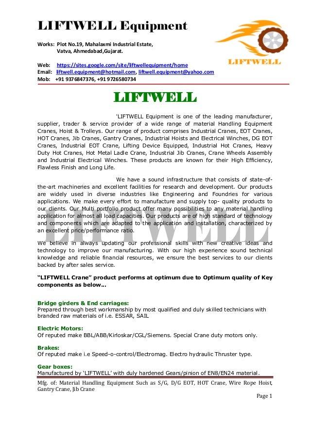 LIFTWELL Equipment Works: Plot No.19, Mahalaxmi Industrial Estate, Vatva, Ahmedabad,Gujarat. Web: https://sites.google.com...