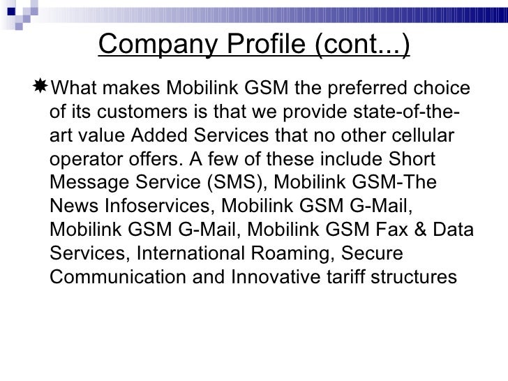 Mission statement of mobilink