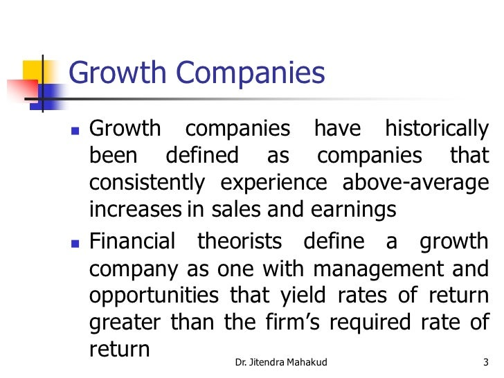 Wonderful ... 3. Growth Companies ...