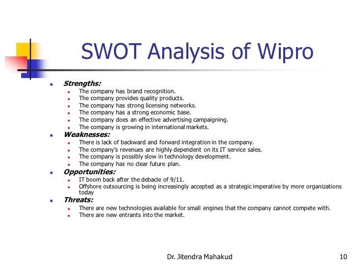 wipro swot and pest analysis Swot & pestle analysis swot and pestle analysis is a strategic analysis tool that feeds important information into the business strategy formulation process swot stands for strengths, weaknesses, opportunities and threats.