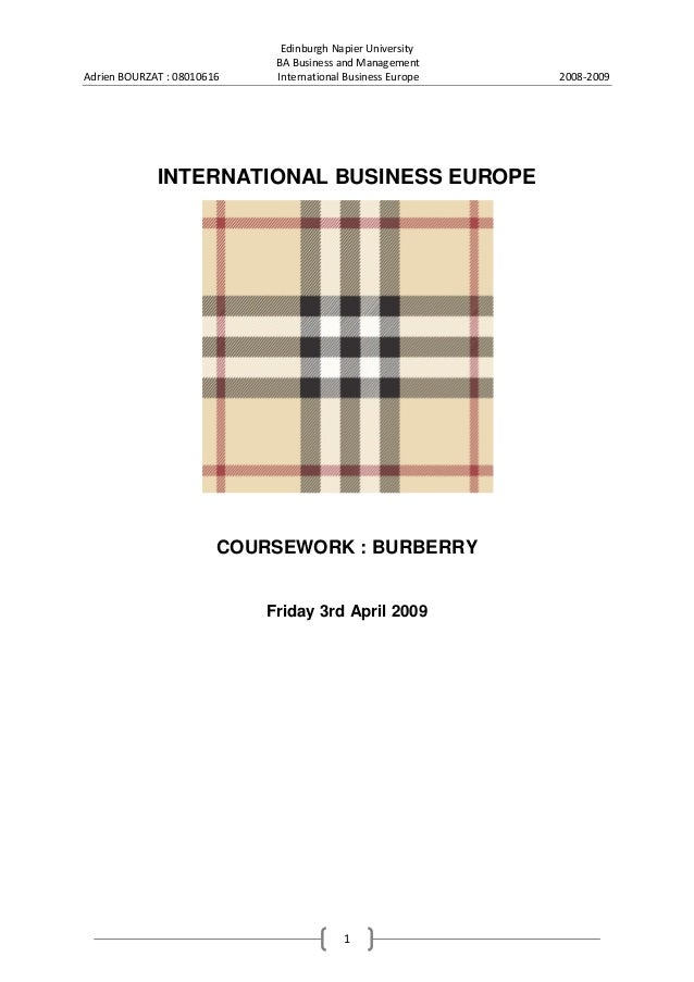 Adrien BOURZAT : 08010616  Edinburgh Napier University BA Business and Management International Business Europe  INTERNATI...