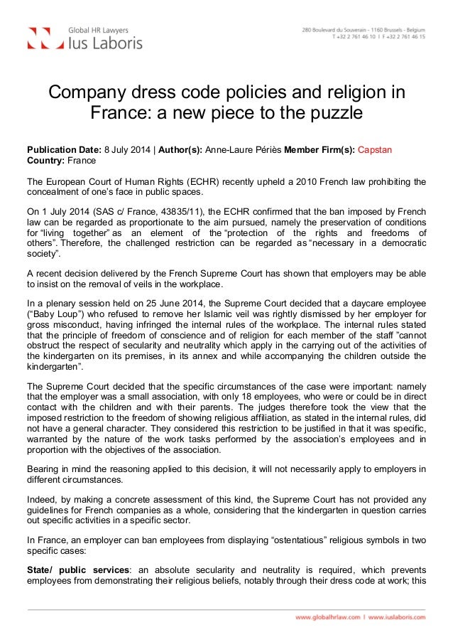 Company dress code policies and religion in France: a new piece to the puzzle Publication Date: 8 July 2014 | Author(s):...