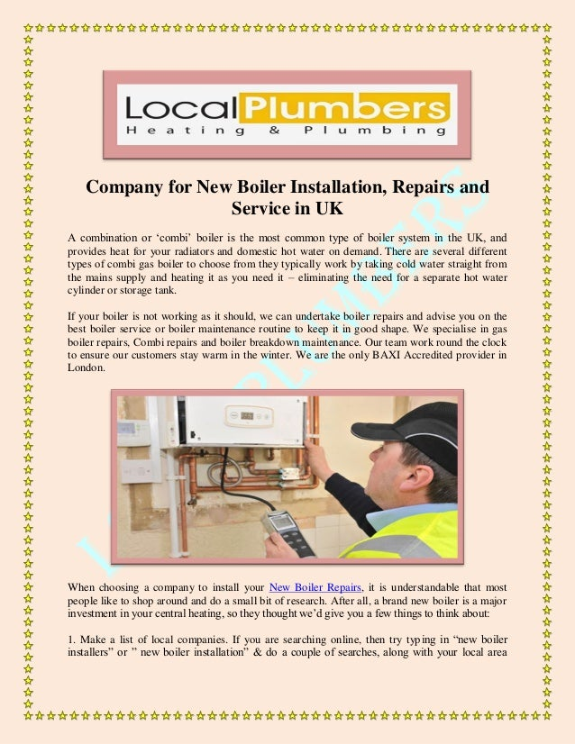 Company for New Boiler Installation, Repairs and Service in UK