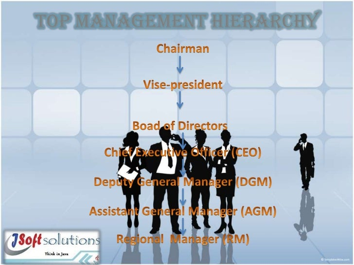 TOP MANAGEMENT HIERARCHY<br />Chairman<br />Vise-president<br />Boad of Directors<br />Chief Executive Officer (CEO)<br />...