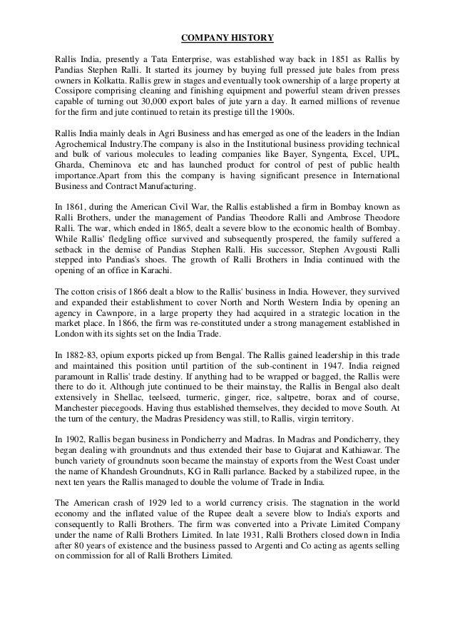 COMPANY HISTORYRallis India, presently a Tata Enterprise, was established way back in 1851 as Rallis byPandias Stephen Ral...