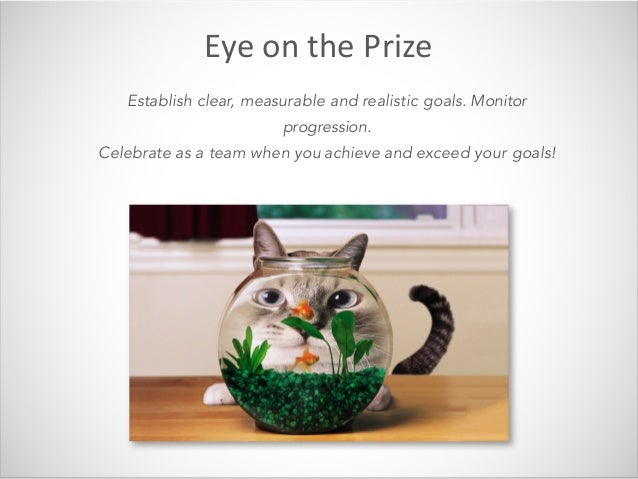 EyeonthePrize Establish clear, measurable and realistic goals. Monitor progression. Celebrate as a team when you achiev...
