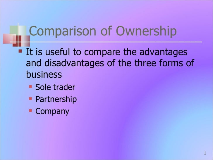 Comparison of Ownership <ul><li>It is useful to compare the advantages and disadvantages of the three forms of business </...
