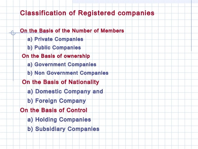 Classification of Registered companiesOn the Basis of the Number of Members  a) Private Companies  b) Public CompaniesOn t...