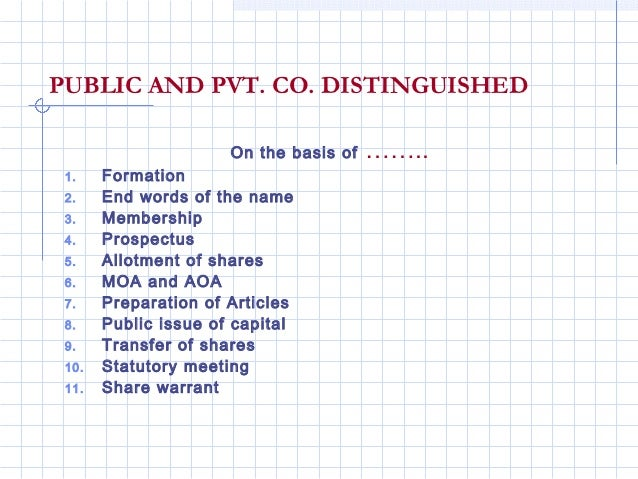PUBLIC AND PVT. CO. DISTINGUISHED                      On the basis of   …….. 1.    Formation 2.    End words of the name ...