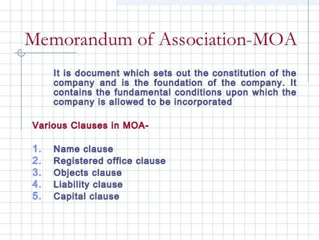 Memorandum of Association-MOA     It is document which sets out the constitution of the     company and is the foundation ...