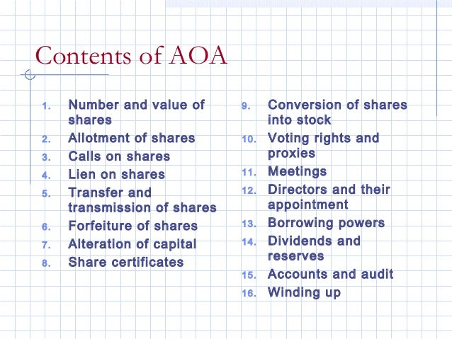 Contents of AOA1.   Number and value of      9.    Conversion of shares     shares                         into stock2.   ...