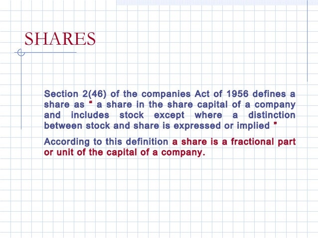 """SHARES Section 2(46) of the companies Act of 1956 defines a share as """" a share in the share capital of a company and inclu..."""