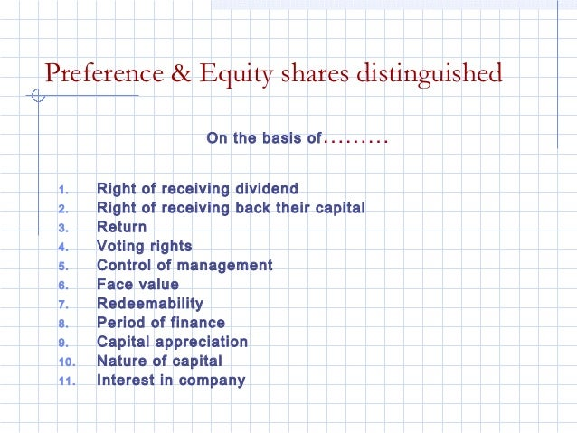 Preference & Equity shares distinguished                      On the basis of ……… 1.    Right of receiving dividend 2.    ...