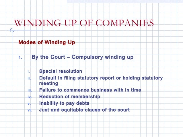 WINDING UP OF COMPANIESModes of Winding Up1.         By the Court – Compulsory winding up     i.      Special resolution  ...