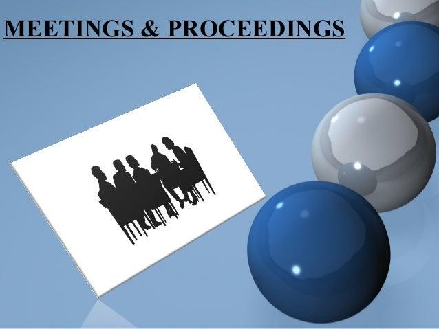 MEETINGS & PROCEEDINGS