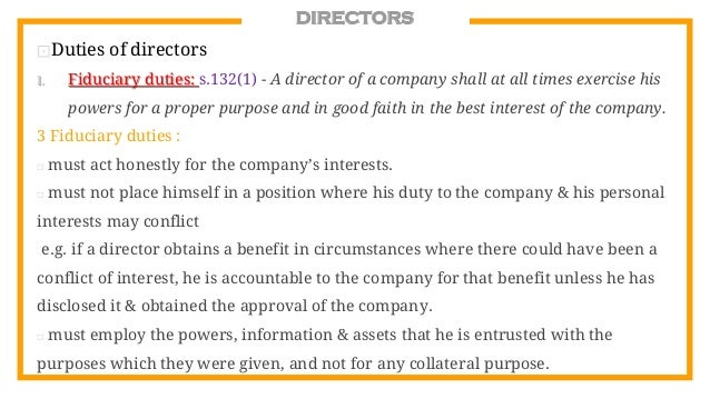 director duties company law Start studying company law: directors' duties learn vocabulary, terms, and more with flashcards, games, and other study tools.