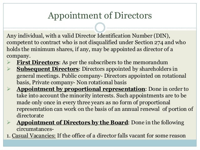 Appointment of Directors Any individual, with a valid Director Identification Number (DIN), competent to contract who is n...