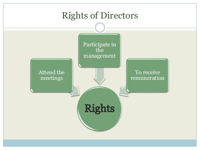 Rights of Directors Attend the meetings Participate in the management To receive remuneration